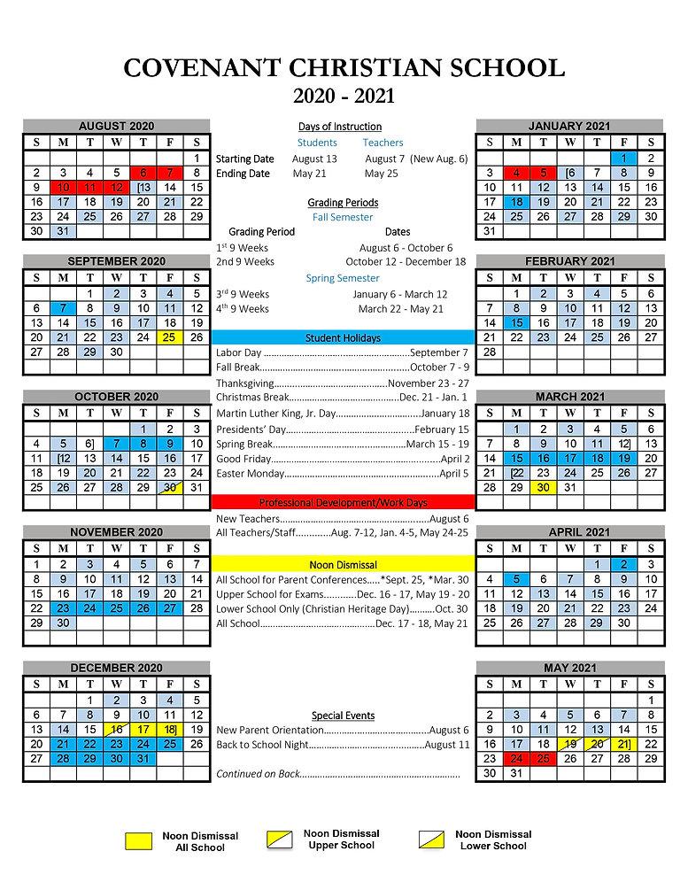 2020-21 Annual School Calendar (Front).j
