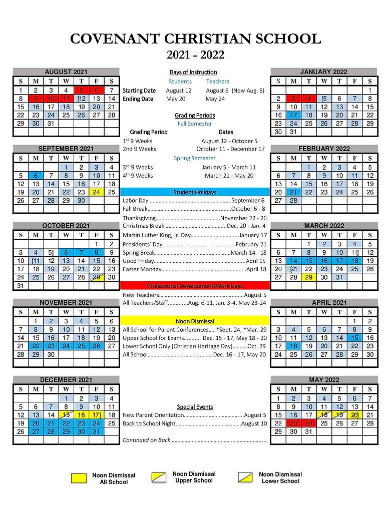 2021-2022 Annual School Calendar (front