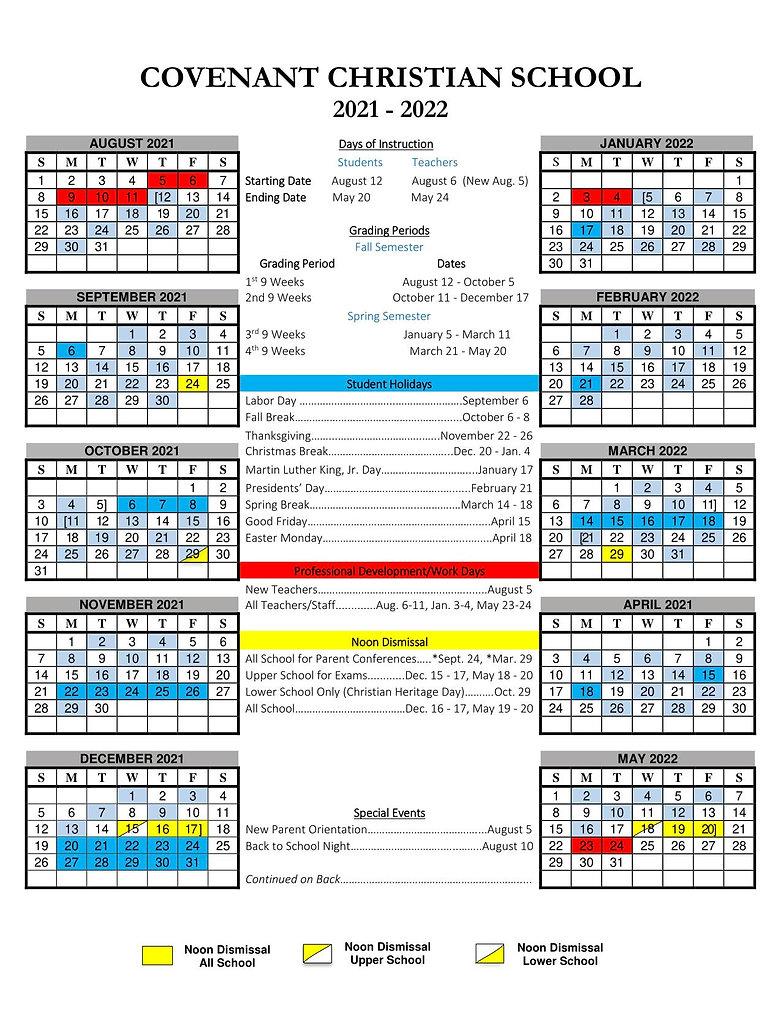2021-2022 Annual School Calendar (front)