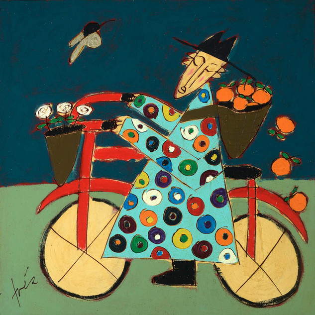Bicycle Monk with Falling Oranges