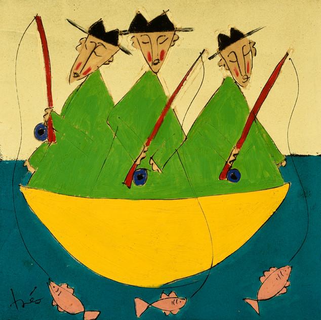Green Fishing Monks