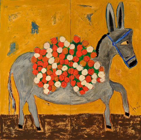 Donkey with Marigolds