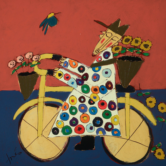 Bicycle Monk with Falling Sunflowers