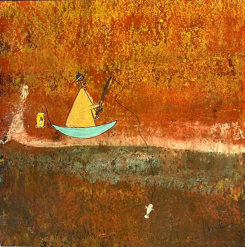 """Fishing Monk in Aqua Boat, 36""""x 36"""""""