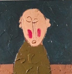"""Portrait of Olive Monk with Rose, 18"""" x 42"""""""