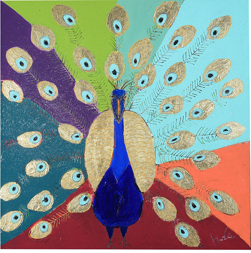 "The Blessing of the Peacock,36"" x 36"""