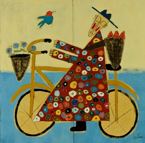 Bicycle Monk with Orange Fish