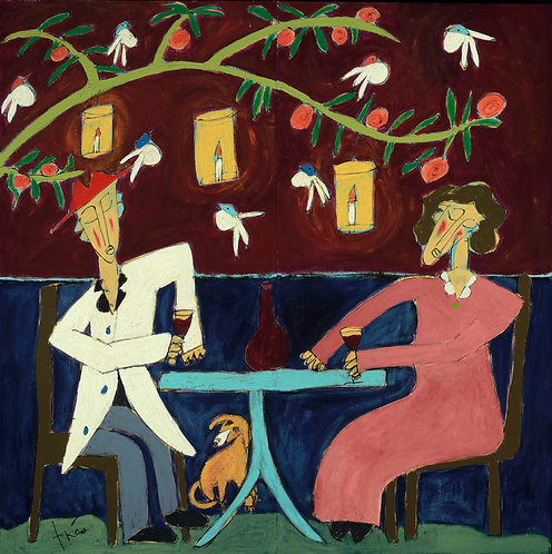 "Celebration Under the Orange Tree, 58"" x 58"""