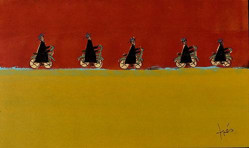 Monk's Bike Race, 3'x 5'