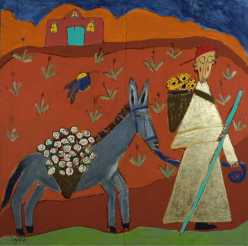 "Desert Monk and Moonflowers, 58"" x 58"""