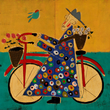 Bicycle Monk with Moonflowers