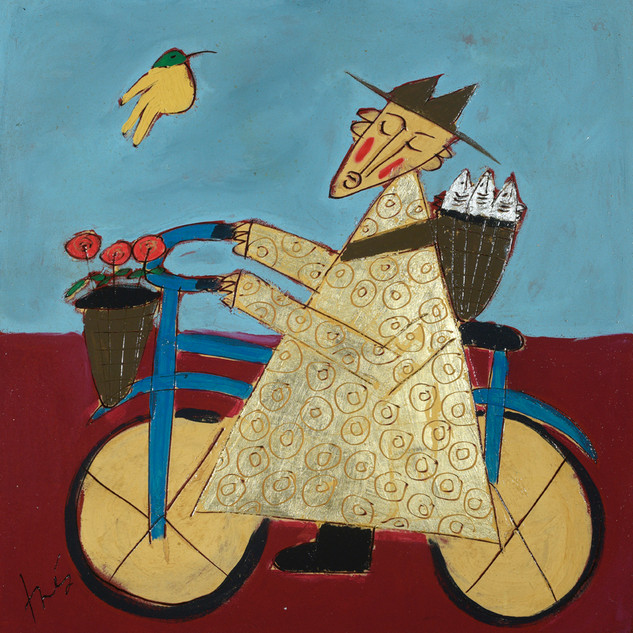 Golden Bicycle Monk with Fish