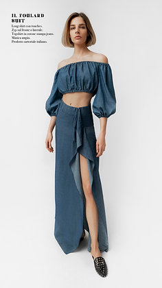 DENIM FOULARD SKIRT