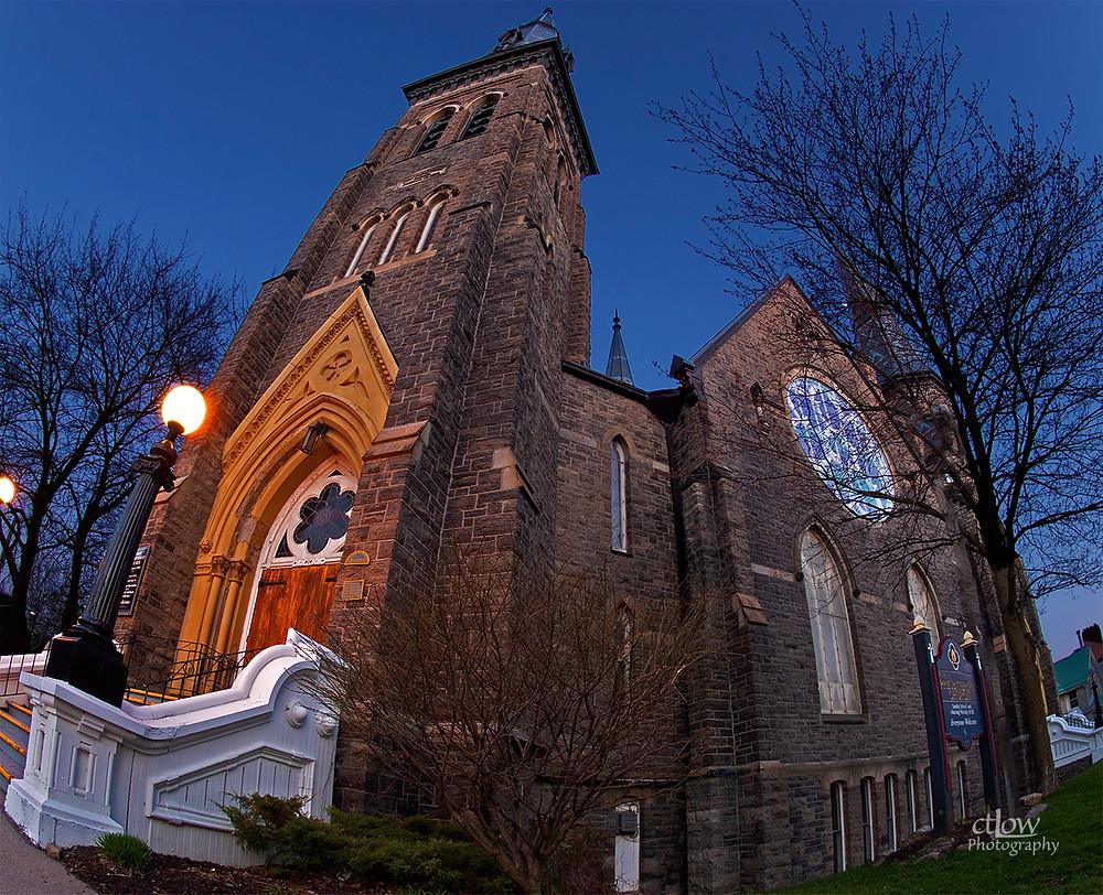 First Presbyterian Church, Brockville, Ontario, pre-sunrise