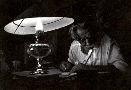 Dr. Albert Schweitzer by candle-light, by Eugene Smith