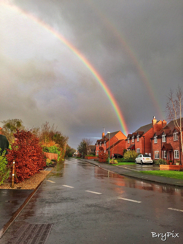 Rainbow, rain-soaked street