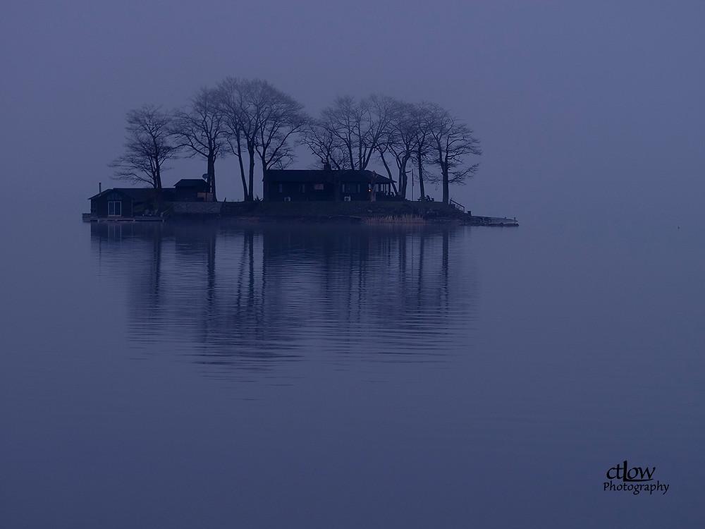 Thousand Islands dawn fog St. Lawrence River