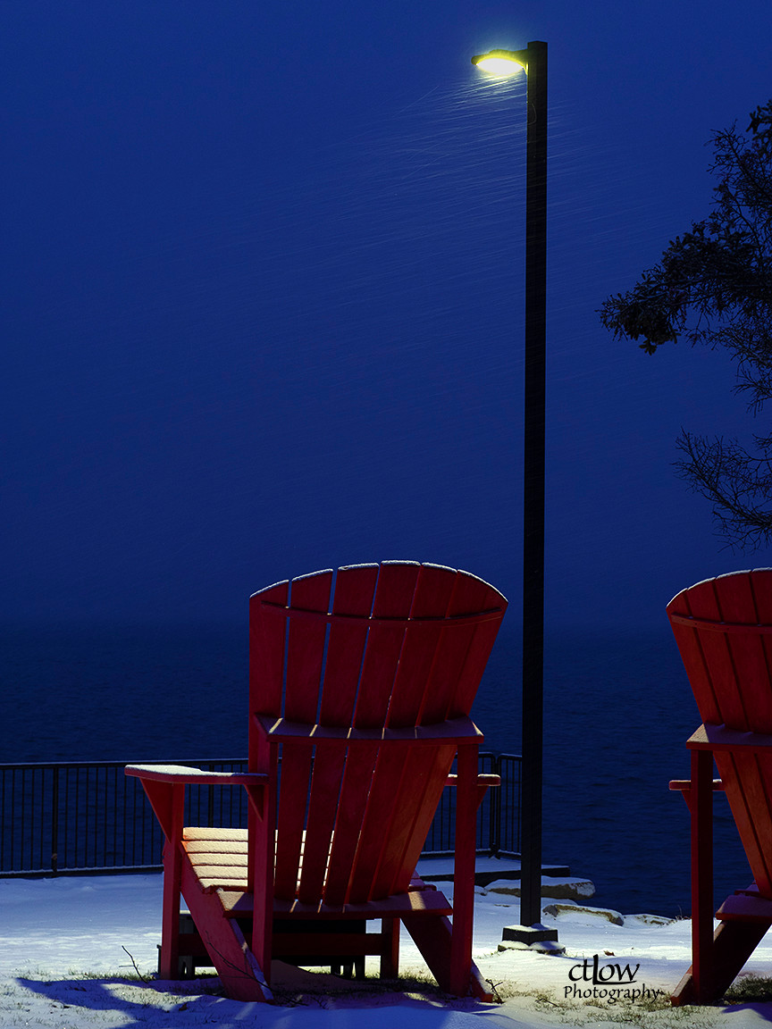 oversized chairs dawn streetlight blockhouse island Brockville Ontario