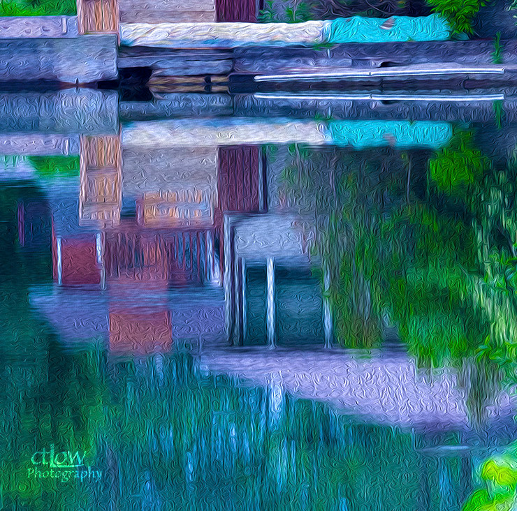 river home reflection oil painting