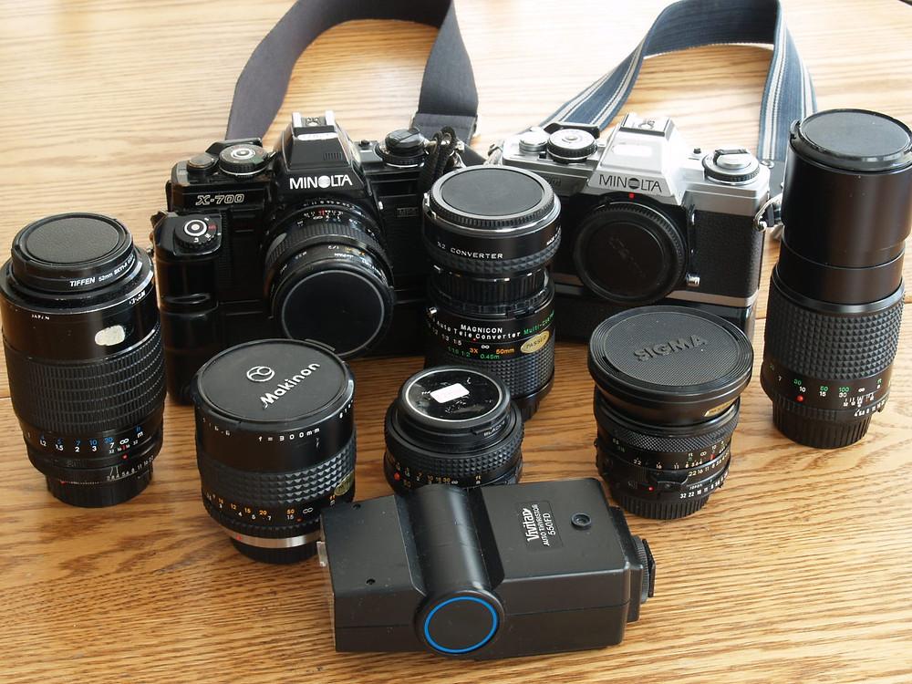 extensive array of photo gear
