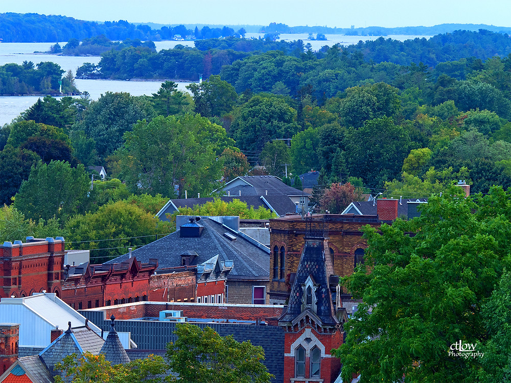 St. Lawrence Anglican Church, Brockville -view from the tower west into the islands