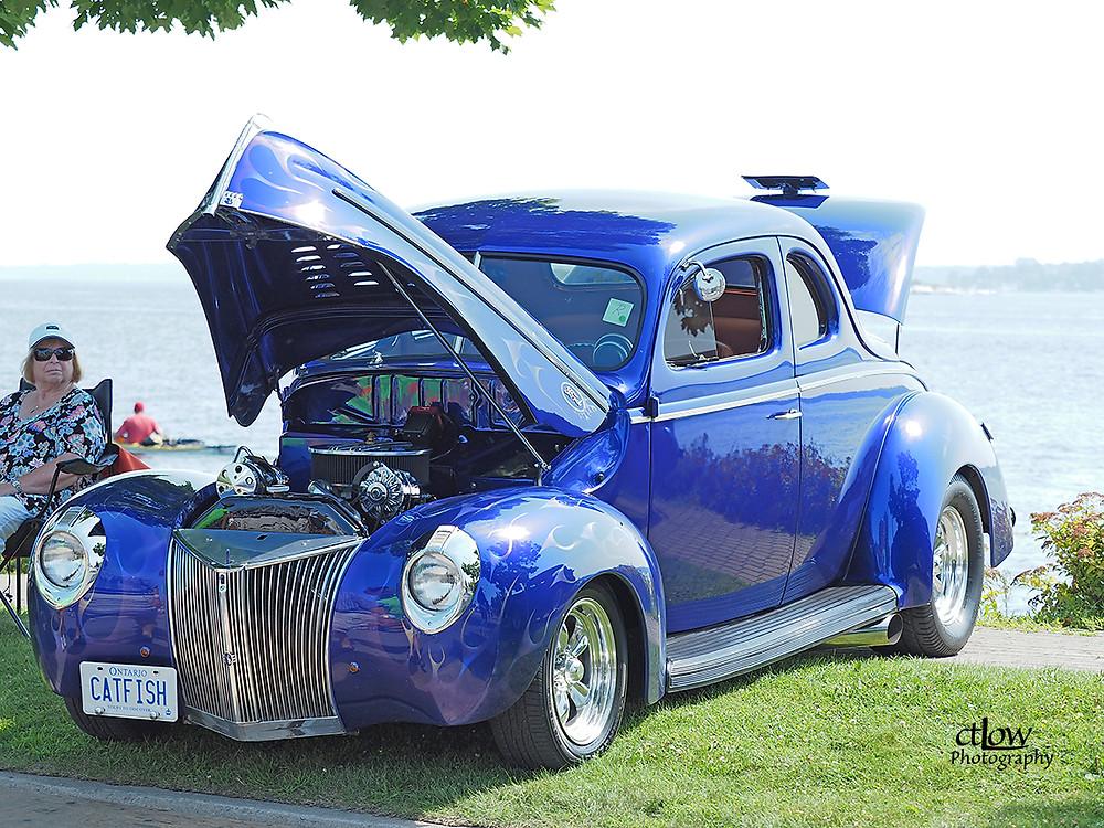 Blue antique vehicle