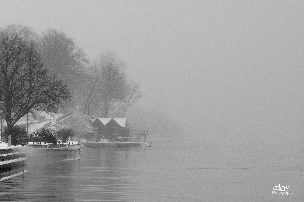 monochrome Brockville Ontario waterfront fog winter snow St. Lawrence River