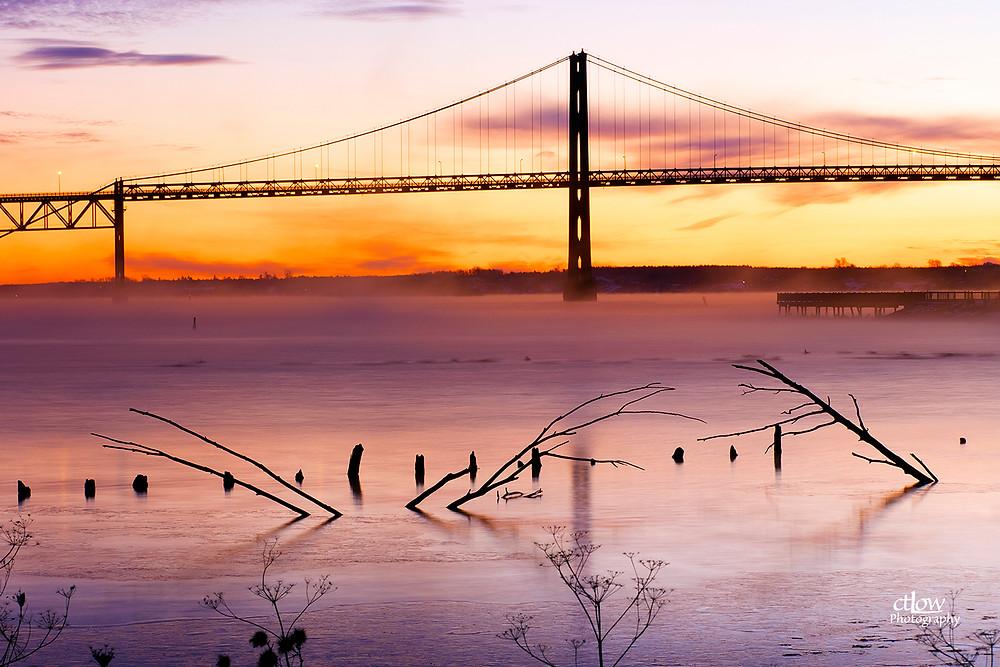 Dawn St. Lawrence River mist, Johnstown Bridge.