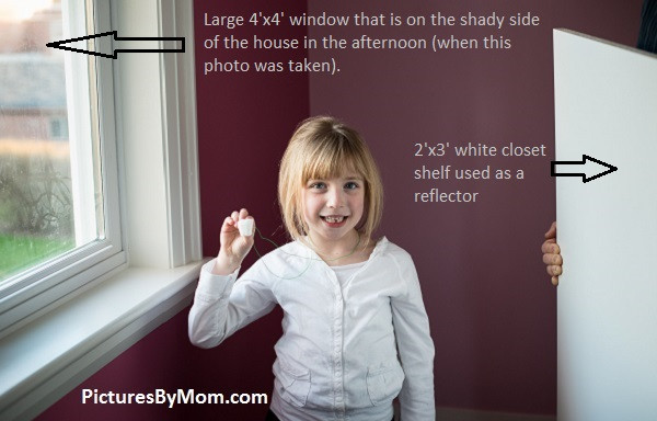north window & reflector