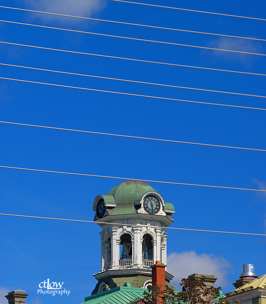 Brockville City Hall tower with wires