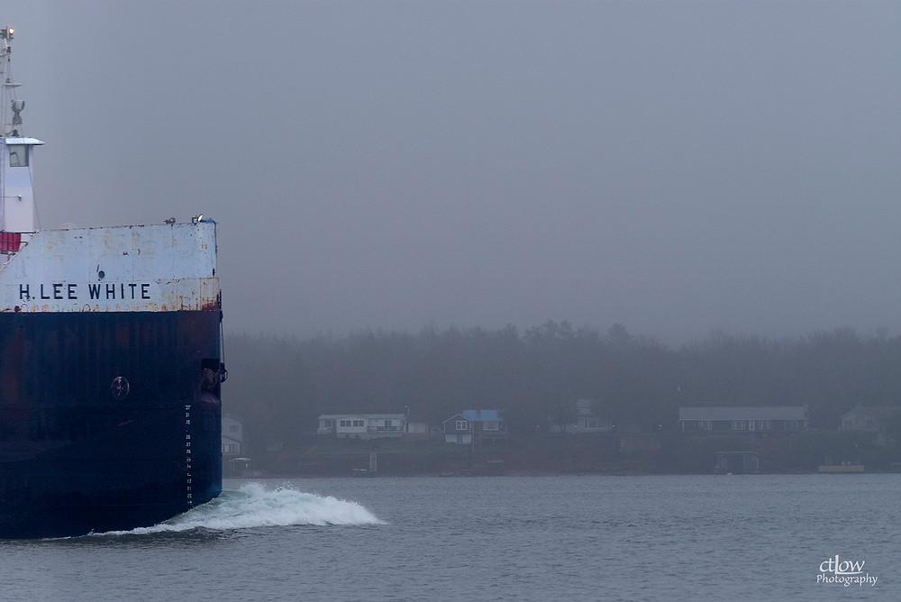 H. Lee White, freighter ship Brockville/Morristown, fog