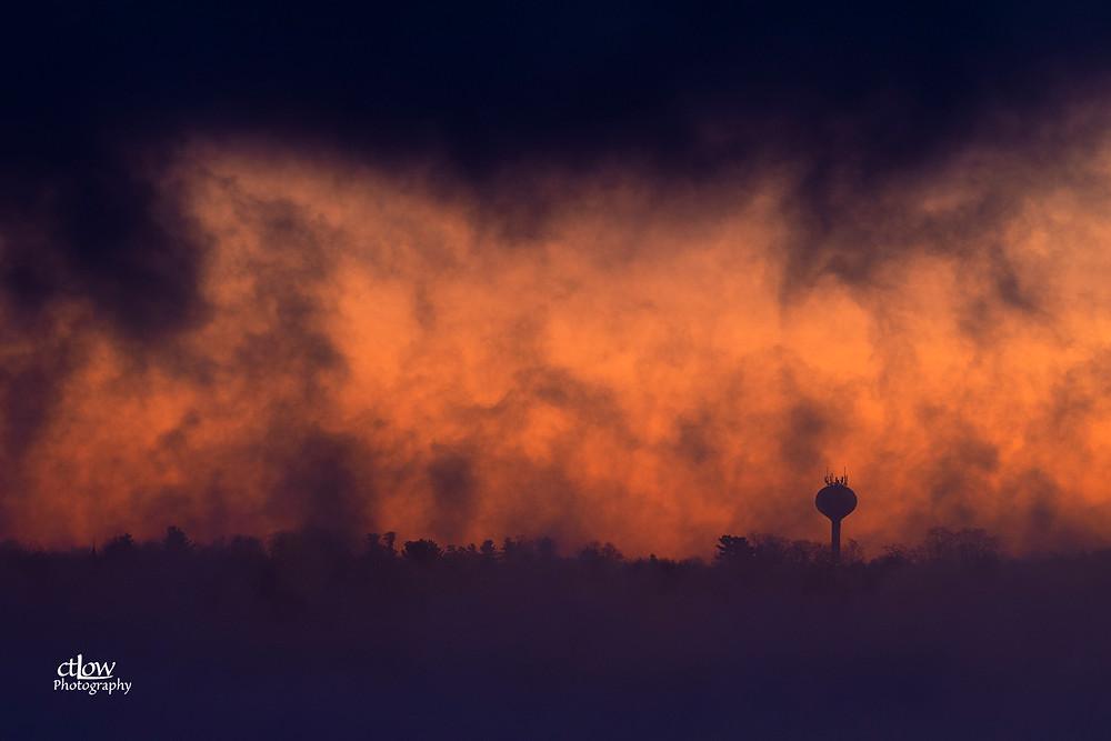 Morristown New York St. Lawrence River fog orange dawn