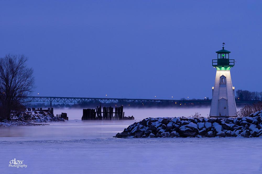 Prescott Ontario harbour beacon pilings Johnstown Bridge dawn winter fog
