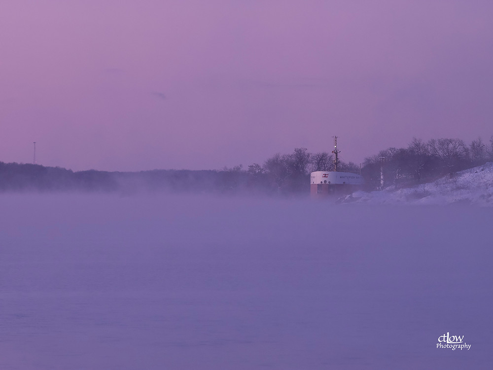 Whitefish Bay  freighter in a very cold fog