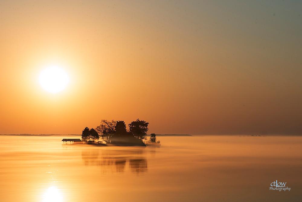 sunrise 1000 Islands island fog reflection