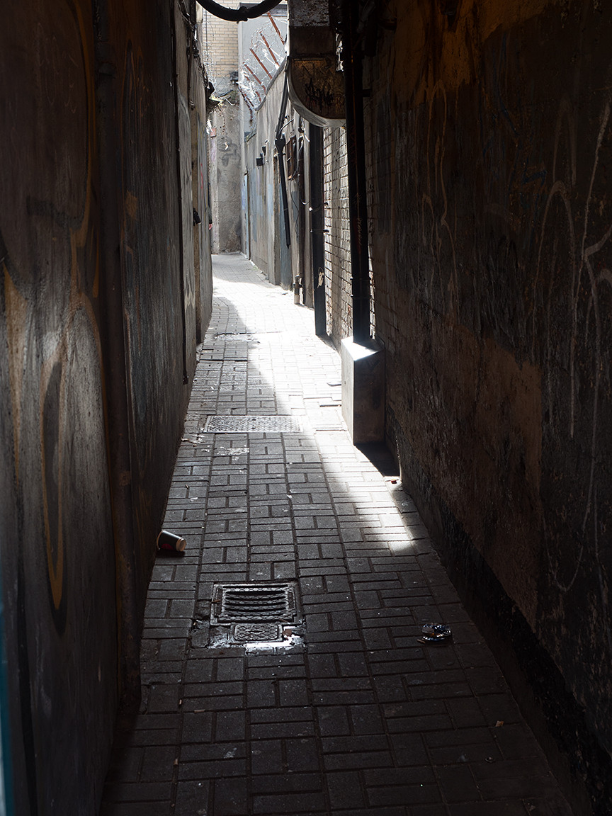 alleyway with litter