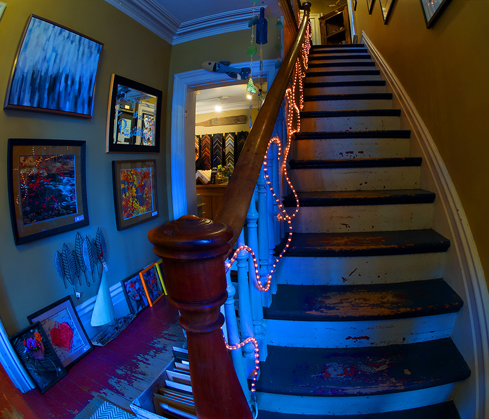 The stairs lead up to the Art Gallery!
