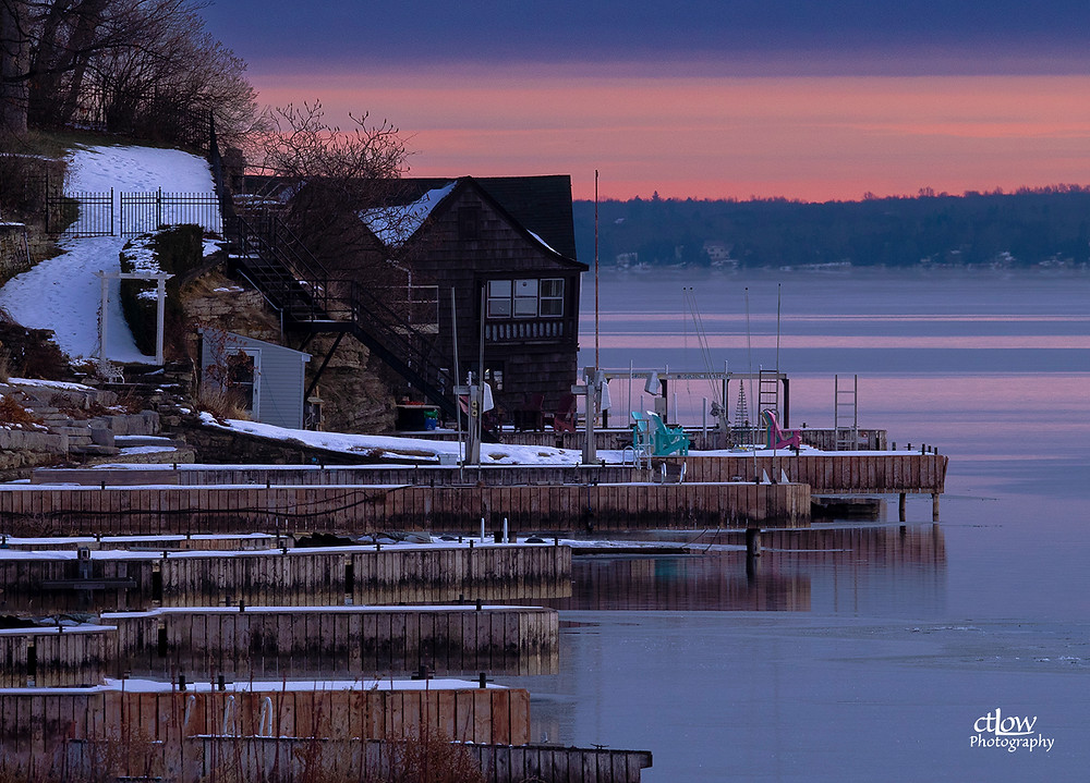 Brockville Ontario waterfront docks winter dawn