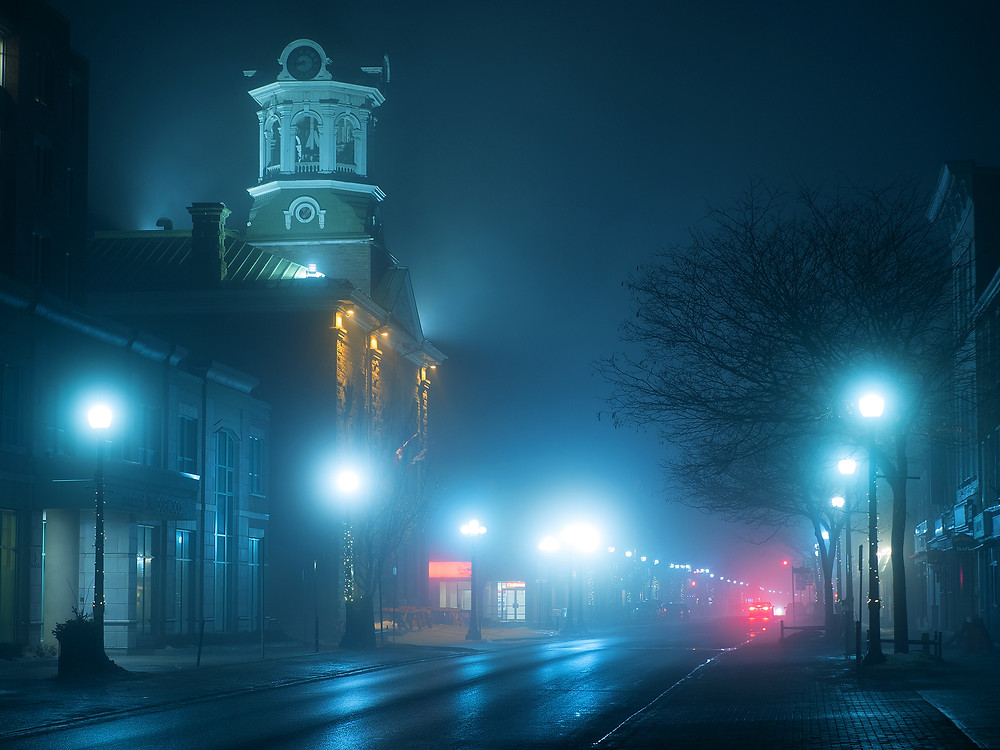 Brockville City Hall, fog, evening - Brockville in Photographs, a book by Charles T. Low