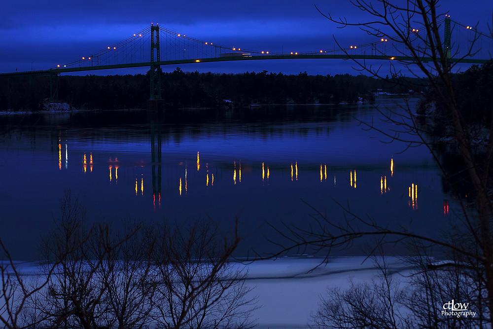 Thousand Islands Bridge winter dawn