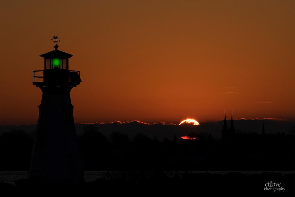 Sunrise over Ogdensburg, NY, beacon Prescott Harbour