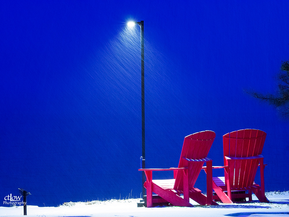 Oversize deck chairs, Ferry St., Brockville, dawn snowstorm