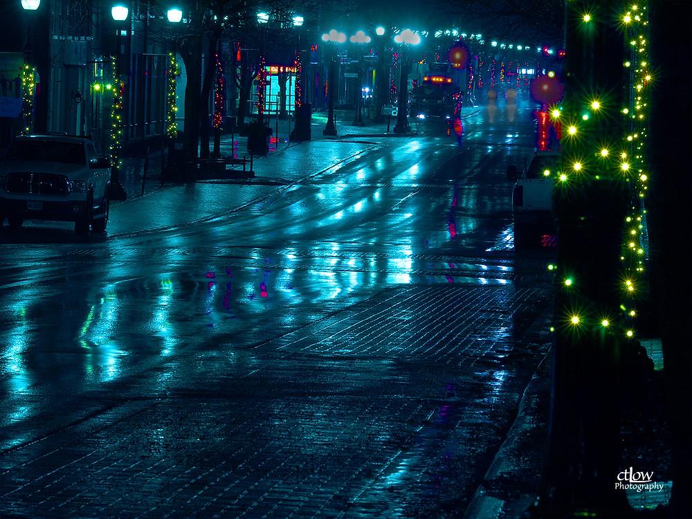 King St., Brockville - dark and wet