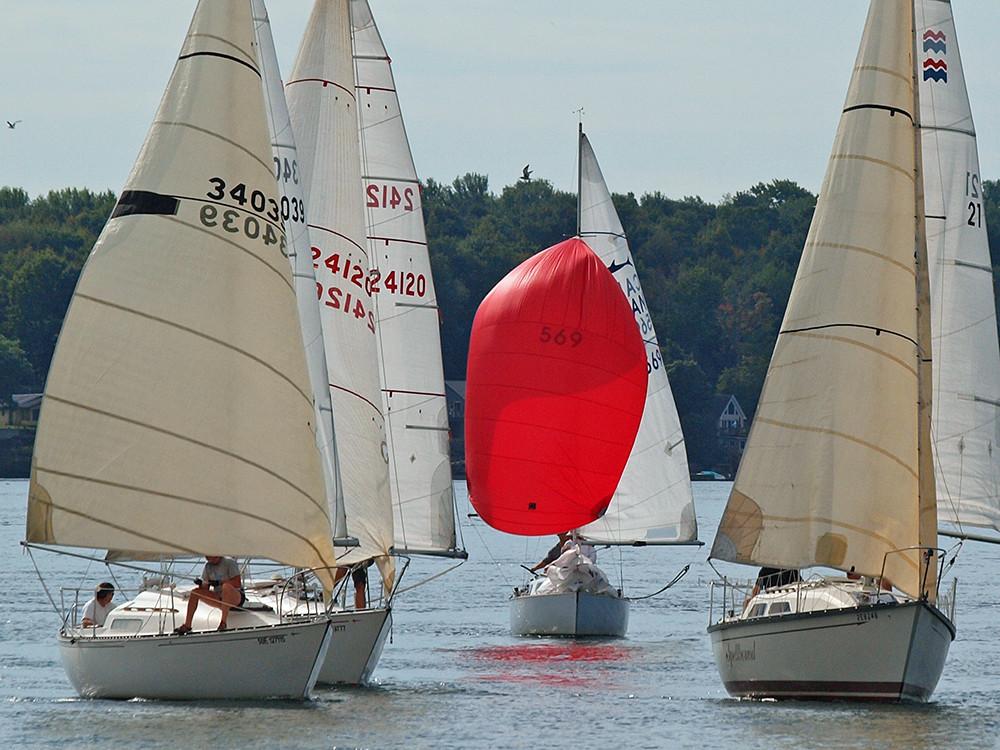 red spinnaker in regatta