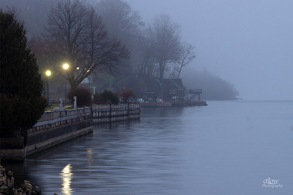 Brockville waterfront east, dawn, fog