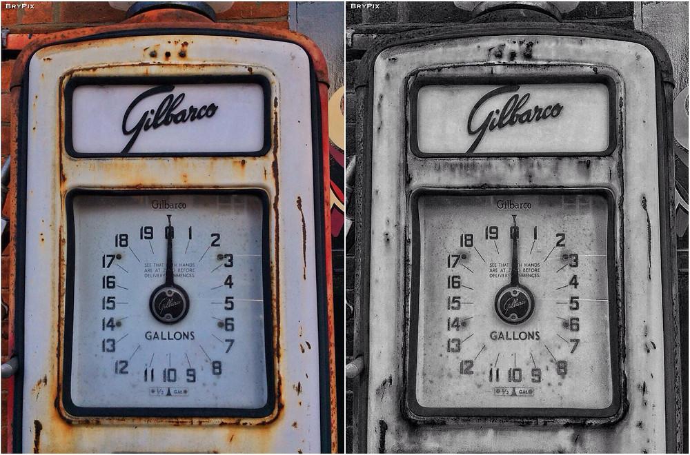 old fuel pumps, colour and monochrome