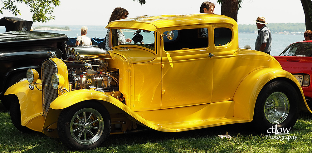 old yellow souped up car