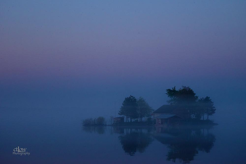 1000 Islands island dawn fog reflection