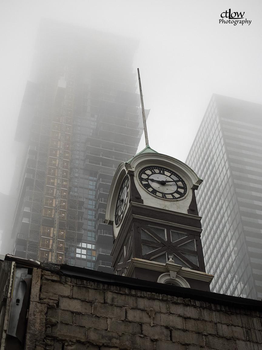 clock-tower, high-rises, mist