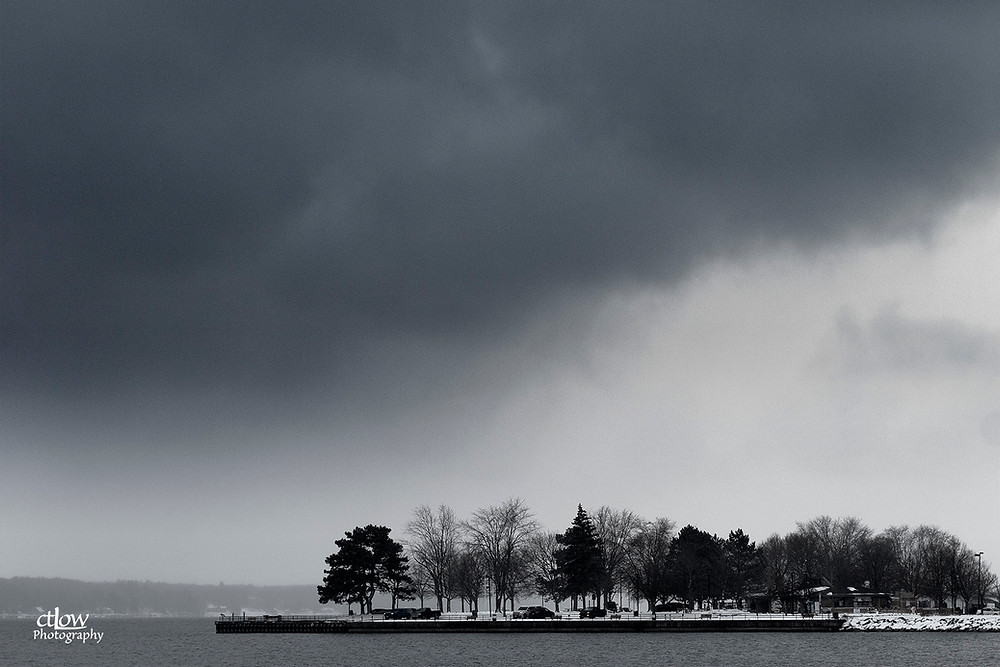 Blockhouse Island, Brockville, Ontario almost showing, monochrome